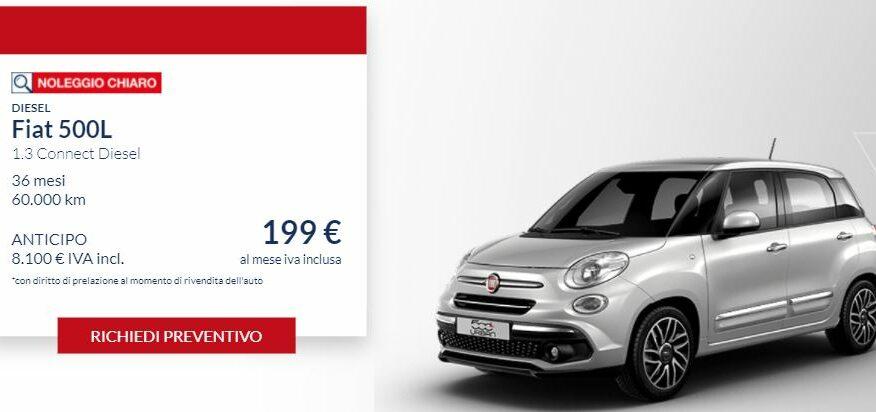 Fiat 500 L 1.3 Diesel CONNECT €. 199 al mese con NOLEGGIO CHIARO LEASYS