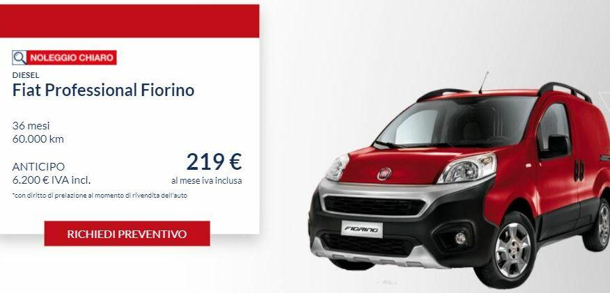Fiat FIORINO Professional diesel €. 214 al mese con NOLEGGIO CHIARO LEASYS