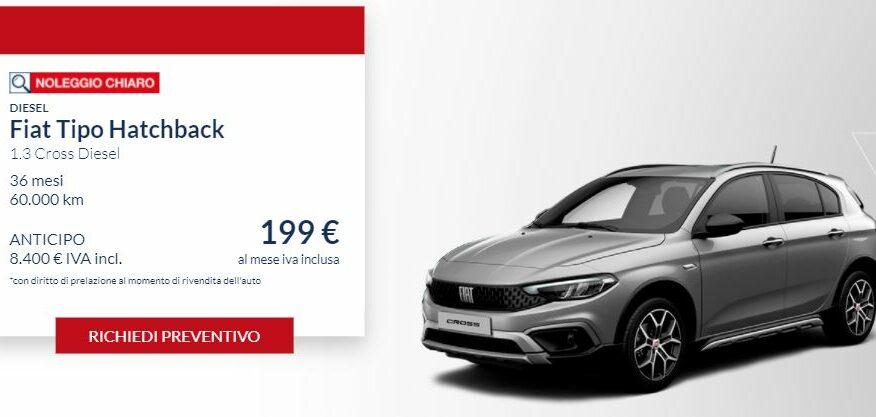 Fiat TIPO Hatchback 1.3 diesel CROSS €. 199 al mese con NOLEGGIO CHIARO LEASYS