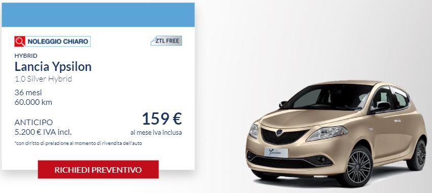 LANCIA Ypsilon 1.0 SILVER Hybrid €. 159 al mese con NOLEGGIO CHIARO LEASYS